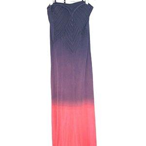 Purple & Coral Ombre Halter Maxi Dress